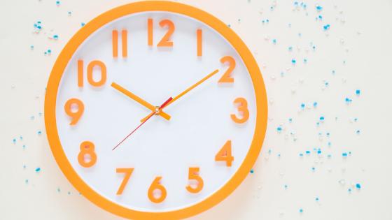 Image of an orange wall clock