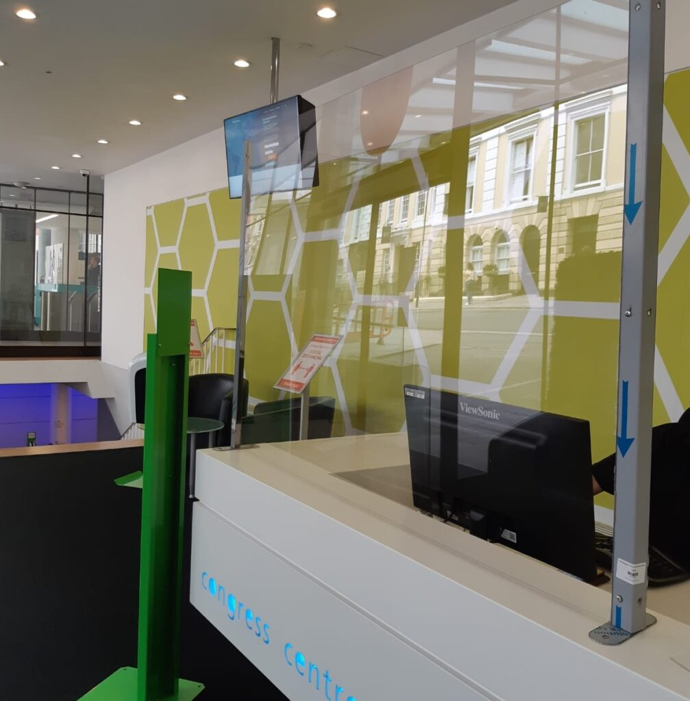 Plexiglass screen installed at the reception area