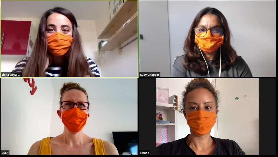 Congress Centre team on a video call wearing orange masks