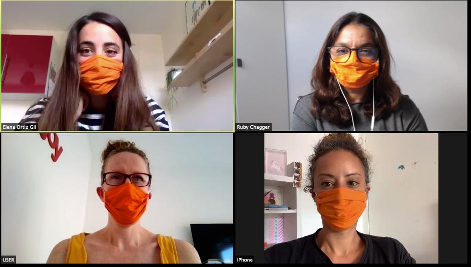 Congress Centre team on a video call wearing orange masks