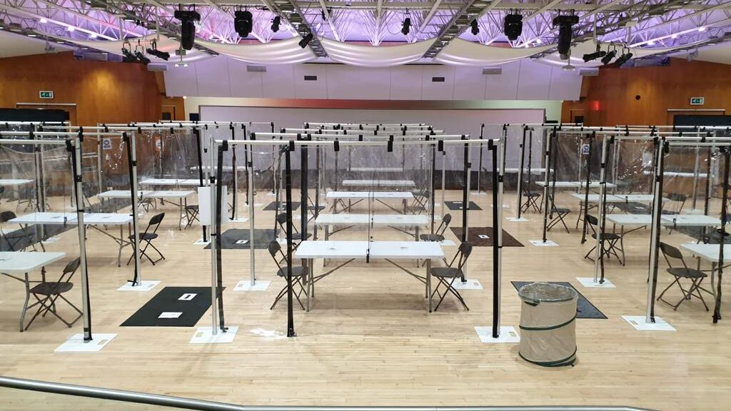 Social distanced catering set-up for a large film crew at London filming venue for hire