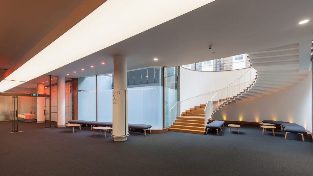 interior shot of the foyer at modern London filming venue Congress Centre