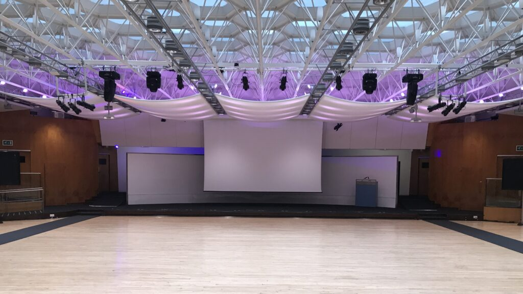 Modern blank canvas space at london venue for filming Congress Centre