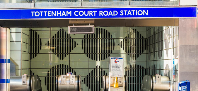Exterior of Tottenham Court Station near London filming location